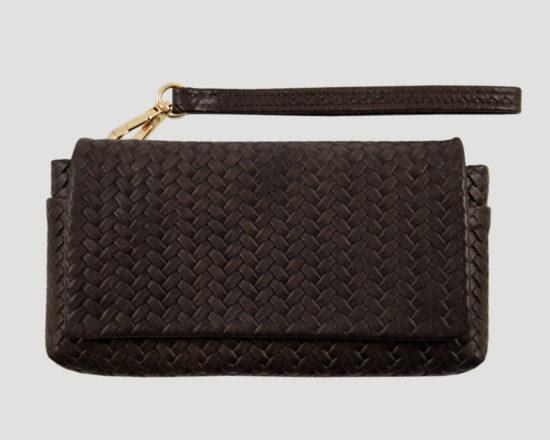 clutch braun Leder, smartphone leather purse