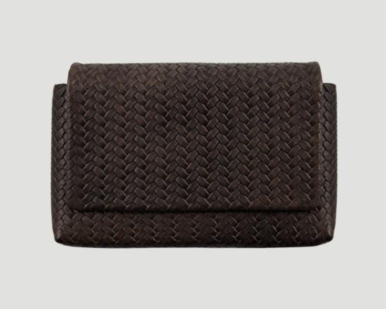 Clutch Leder geflochten braun, smartphone leather purse