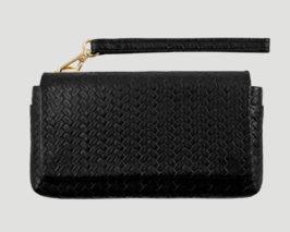 geflochte Leder clutch schwarz smartpurse claire Lapaporter, smartphone leather purse
