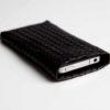 iPhone/iPod-Tasche-Case-Etui-Lammleder-geflochten-schwarz