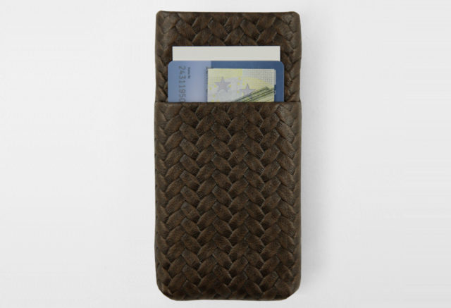 iPhone Card Case black coffee geflochten Braid
