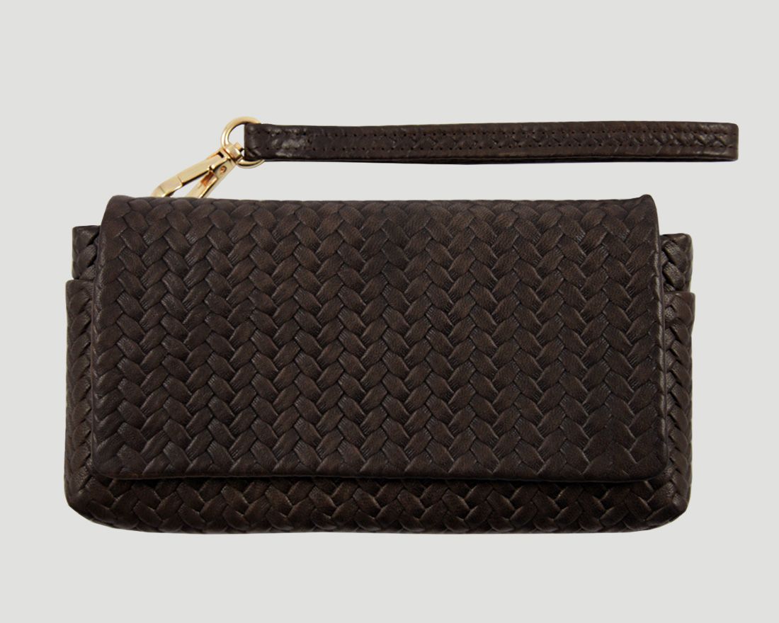 clutch braun Leder, smartphone leather purse