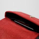 clutch Portemonnaie Leder rot