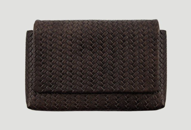 Clutch Leder geflochten braun, smartphone leather purse