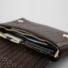 Clutch / Portemonnaie Leder geflochten braun