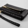 geflochte Leder clutch schwarz smartpurse claire Lapaporter