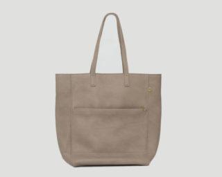 Lederhandtasche Shopper grau