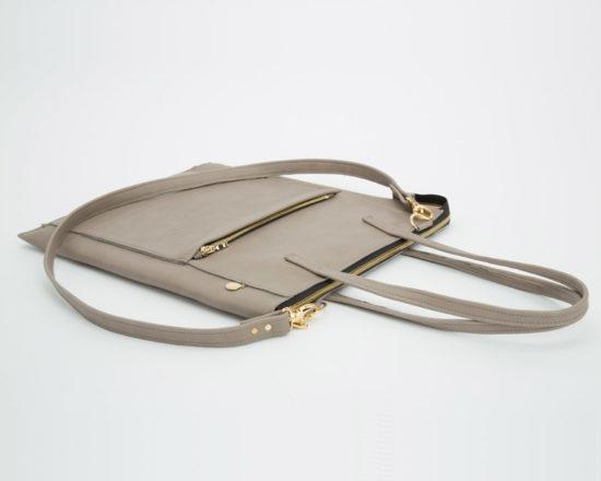 lapaporter Leder Laptoptasche laptop shopper grau