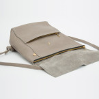 kleiner Leder Rucksack grau