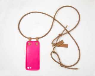 iPhone hülle zum umhängen pink Leder iPhone crossbody case pink leather