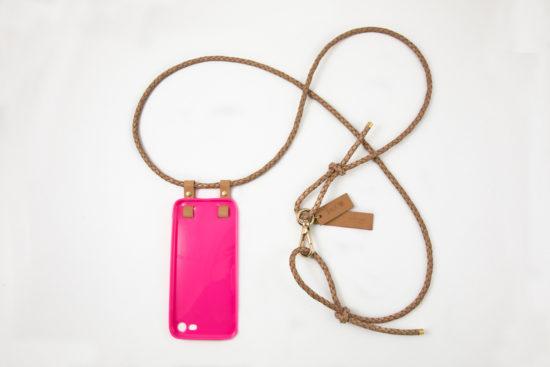 iPhone hülle zum umhängen pink Leder iPhone crossbody case pink leather