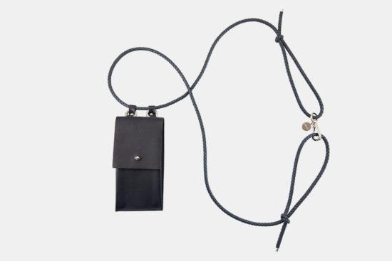 iPhone hülle zum umhängen schwarz Leder crossbody iPhone case black leather