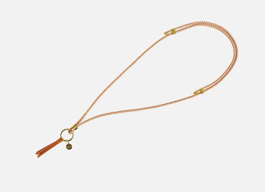 Schöner und praktischer Schlüsselanhänger zum umhängen aus stabiler Baumwollkordel mit süßer Lederquaste- längenverstellbar