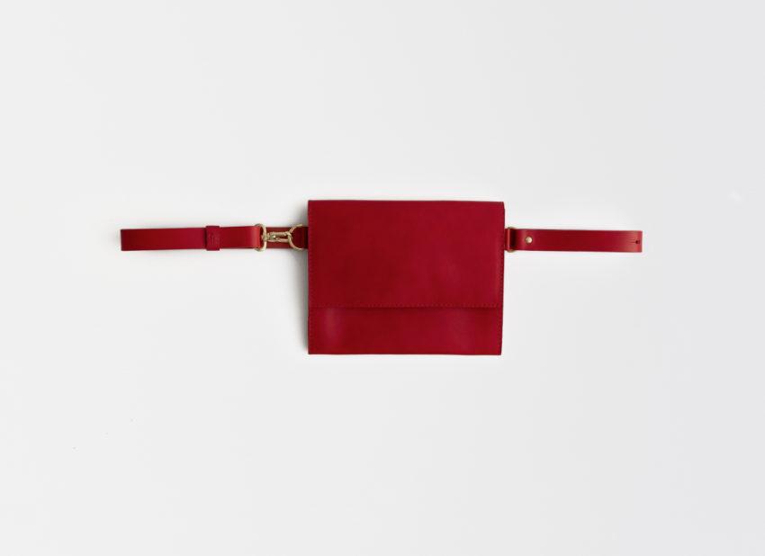 Gürteltasche, Leder, rot, Hüfttasche, fanny pack, leather, belt bag, red