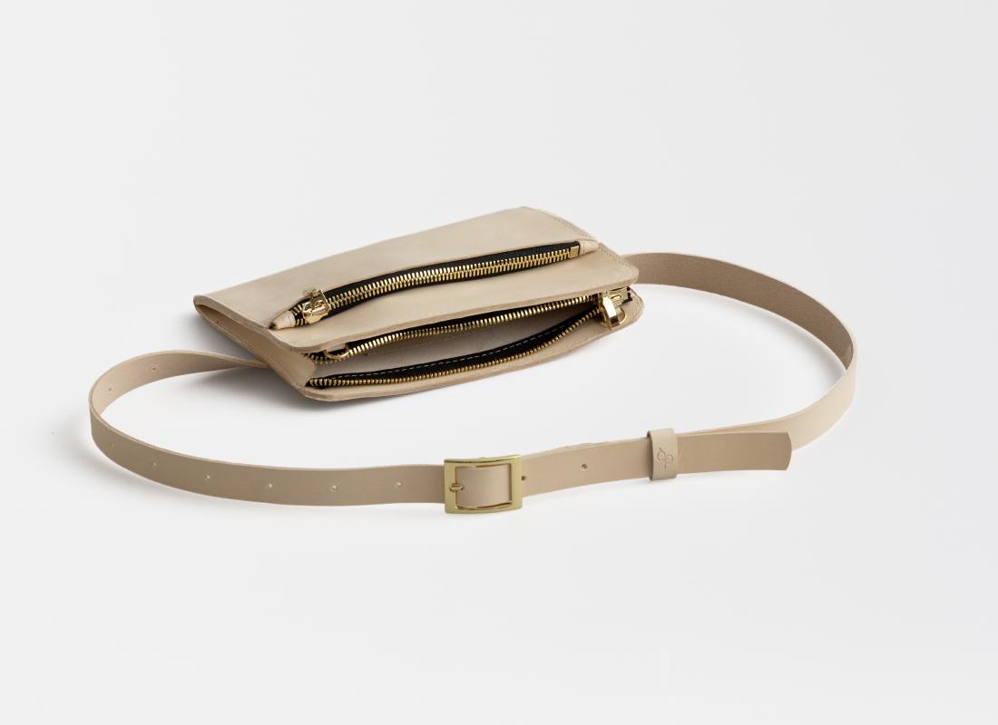 Leder Gürteltasche, Hüfttasche natur - natural leather belt bag natural