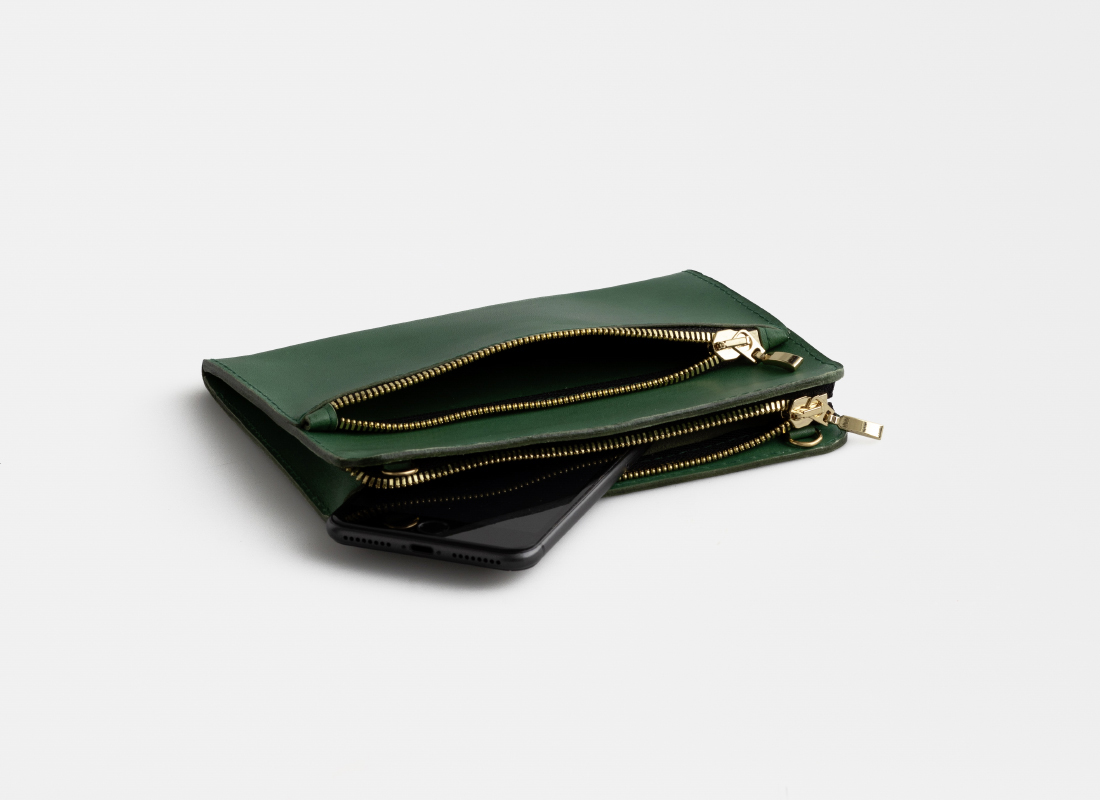 clutch aus Leder grün , clutch leather green