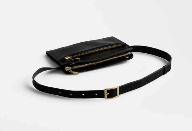 Leder Gürteltasche, Hüfttasche black - leather belt bag black