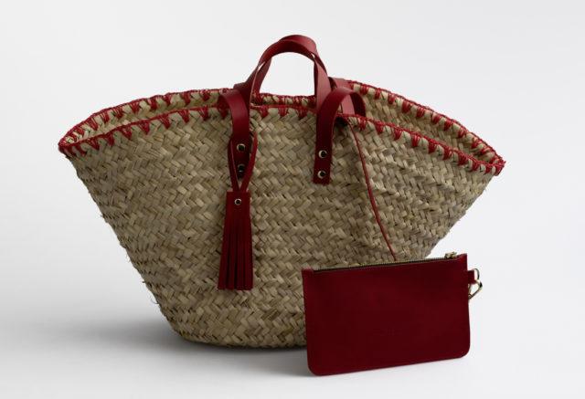basket bag, Lederhenkel, Ibiza Tasche, Strandtasche , Korbtasche , Markttasche