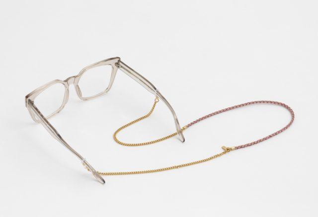 Brillenkette gold mit Lederband