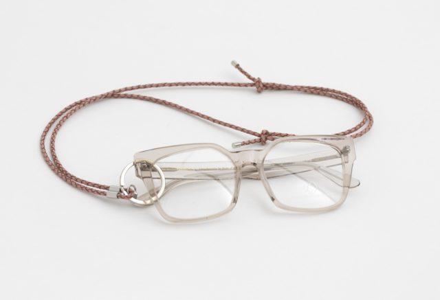 Brillenkette mit Lederkordel und Ring